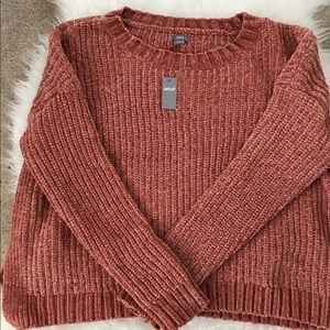 Aerie cable knit rust colored sweater